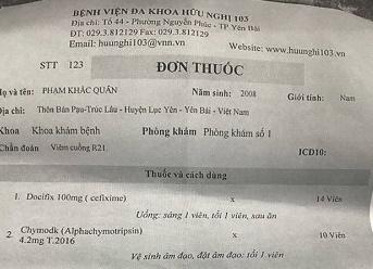 Yên bái: Bé trai 9 tuổi viêm răng nhưng được kê đơn trị viêm âm đạo