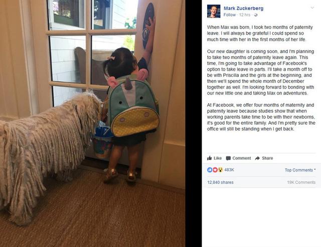 Ông chủ Facebook xin nghỉ phép 2 tháng để chăm sóc con gái sắp chào đời