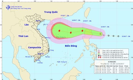 Dự báo thời tiết ngày 13/10: Áp thấp nhiệt đới liên tục tăng cấp