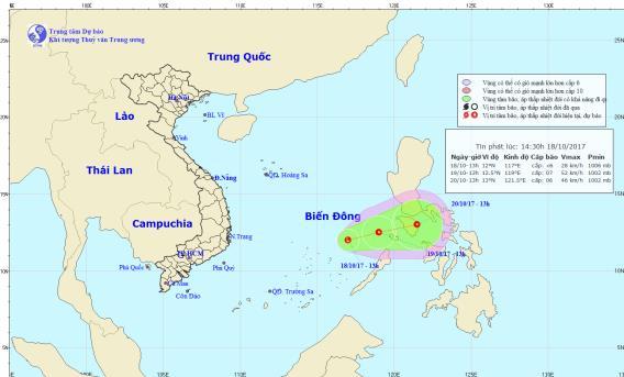 Xuất hiện vùng áp thấp đang mạnh lên trên Biển Đông