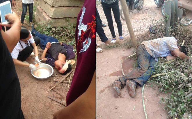 2 người đàn ông trộm gà bị dân vây đánh gục ven đường ở Bắc Giang