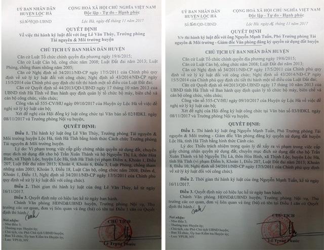 Kỷ luật cách chức trưởng phòng Tài nguyên huyện vì cấp đất sai
