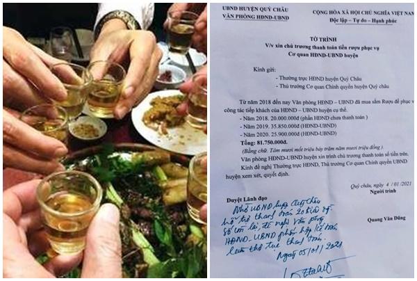 Vụ văn phòng huyện ở Nghệ An xin hơn 80 triệu tiền rượu: Chủ tịch huyện lên tiếng