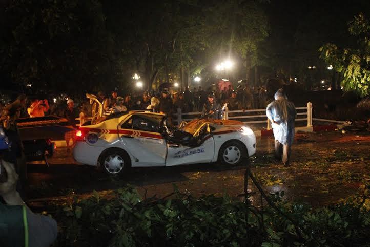Cây đổ đè ngang xe taxi, tài xế tử vong tại chỗ