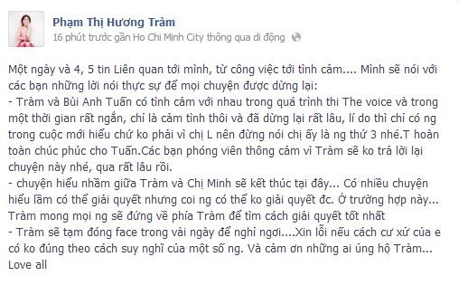 Hương Tràm khóa Facebook sau khi viết tâm thư gửi Thu Minh-1