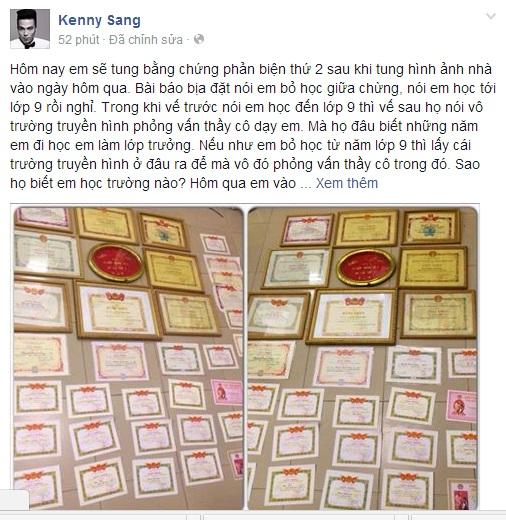 Kenny Sang: 12 năm đi học làm lớp trưởng, đạt HS giỏi thành phố