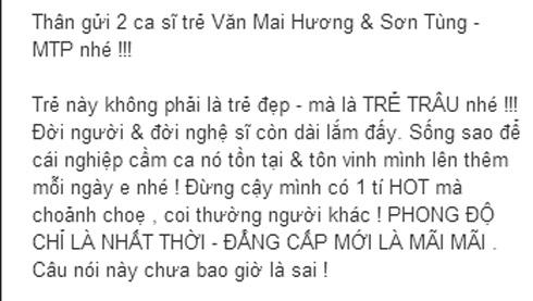 Văn Mai Hương và Sơn Tùng M-TP phẫn nộ vì bị bầu show vu khống