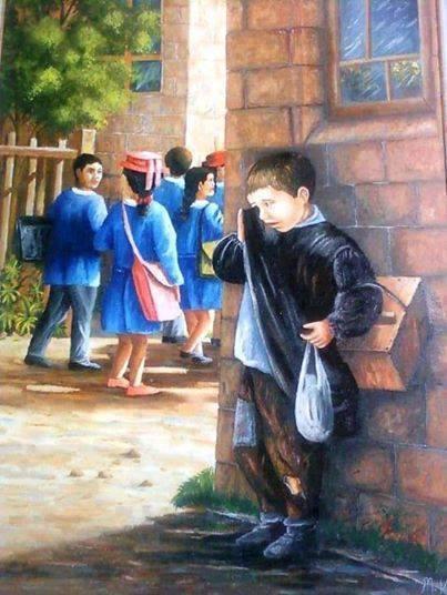 Cảm thương bức ảnh em bé nghèo đứng khóc vì không được đến trường