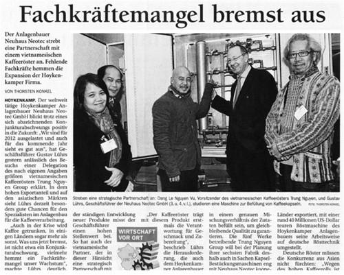 Tờ nhật báo của Đức đã đăng tải thông tin về chuyến công tác của Tập đoàn Trung Nguyên đến Neuhaus Neotec, công ty chuyên cung cấp máy chế biến cà phê hàng đầu châu Âu.