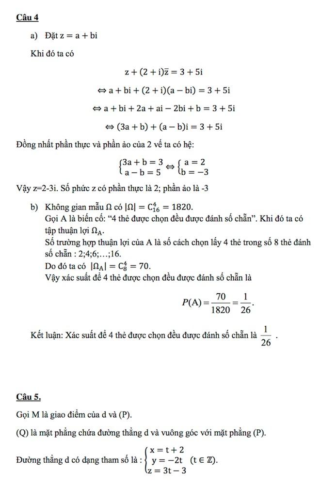 Đáp án đề thi đại học môn toán khối A năm 2014