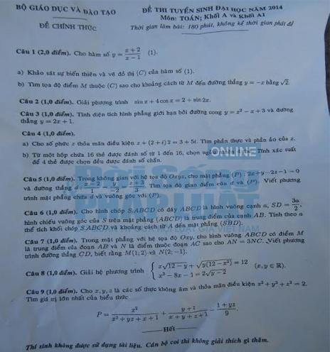 Đáp án đề thi đại học môn toán khối A, A1 năm 2014