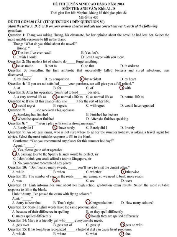 Đáp án đề thi cao đăng môn Tiếng Anh khối A1, D năm 2014