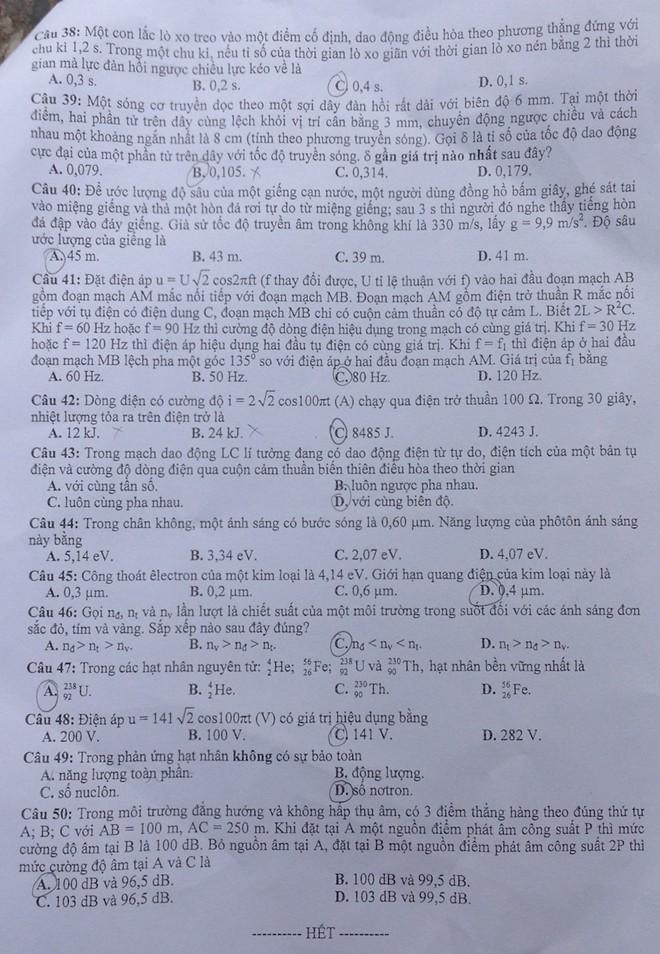Đề thi đại học môn Vật Lý khối A và A1 năm 2014
