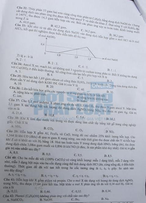 Đáp án đề thi đại học môn hóa học khối A năm 2014
