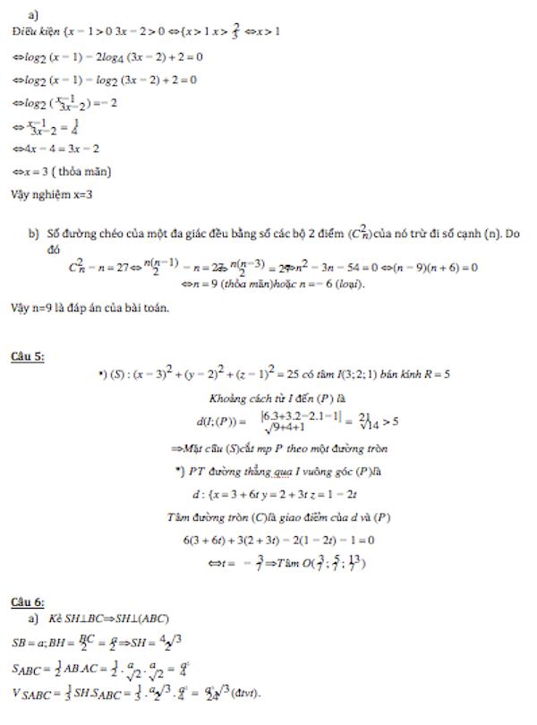 Đáp án đề thi đại học môn toán khối D năm 2014