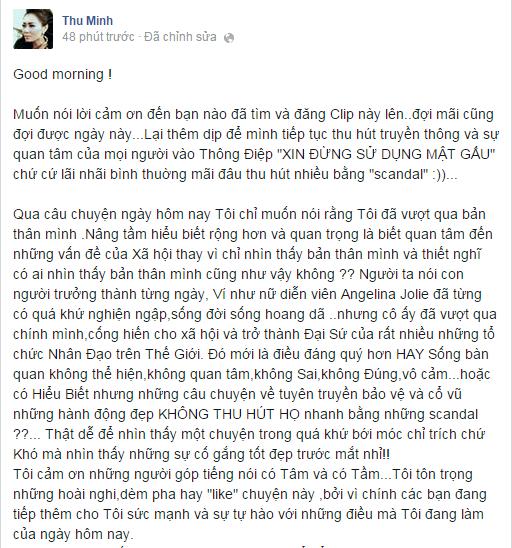 Bị chỉ trích dùng mật gấu tươi, Thu Minh lên tiếng phản pháo