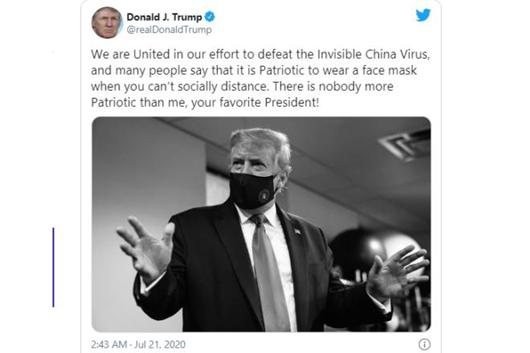 """Tổng thống Trump đăng ảnh đeo khẩu trang, gọi đây là hành động """"yêu nước"""" - ảnh 1"""