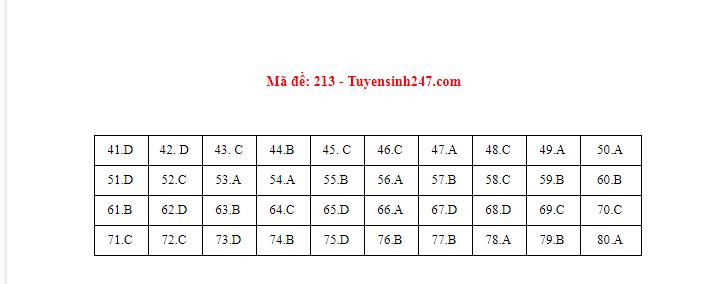 Đáp án, đề thi môn Hóa học mã đề 213 tốt nghiệp THPT 2020 chuẩn nhất, chính xác nhất - ảnh 1