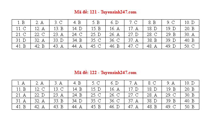 Gợi ý đáp án môn Toán mã đề 119, 120, 121 tốt nghiệp THPT 2020  - ảnh 1