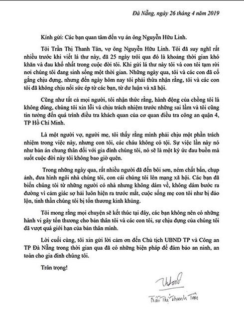 Vụ sàm sỡ bé gái trong thang máy chung cư: Vợ ông Nguyễn Hữu Linh gửi tâm thư đẫm nước mắt - Ảnh 2