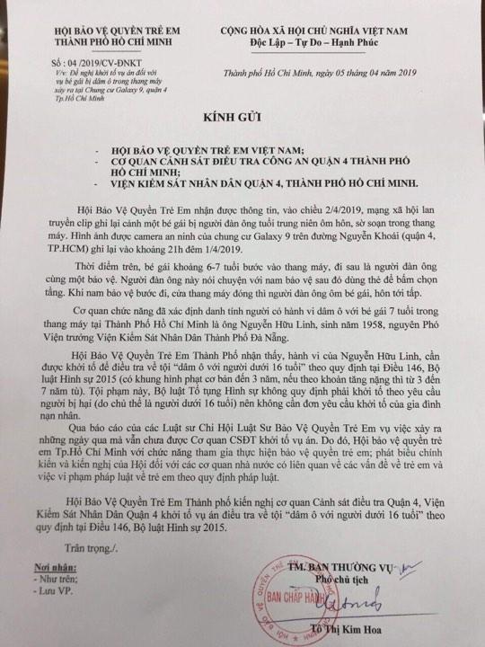 Bé gái bị sàm sỡ trong thang máy: Hội bảo vệ quyền trẻ em TP.HCM đề nghị khởi tố vụ án - Ảnh 1