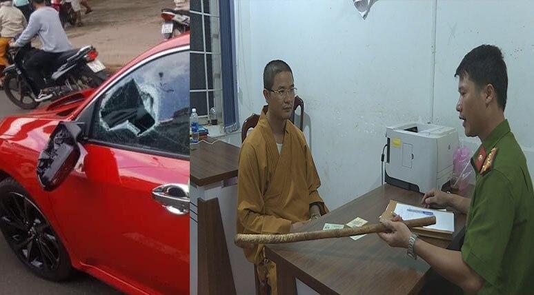 """Lý do đình chỉ vụ án thầy chùa """"múa gậy"""" đập vỡ kính ô tô vì """"bấm còi inh ỏi"""" - ảnh 1"""