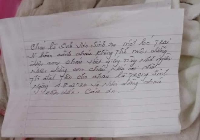 Vụ đi bẫy chuột, phát hiện bé sơ sinh bị bỏ rơi: Bức thư của nữ sinh viên bỏ con viết gì? - ảnh 1