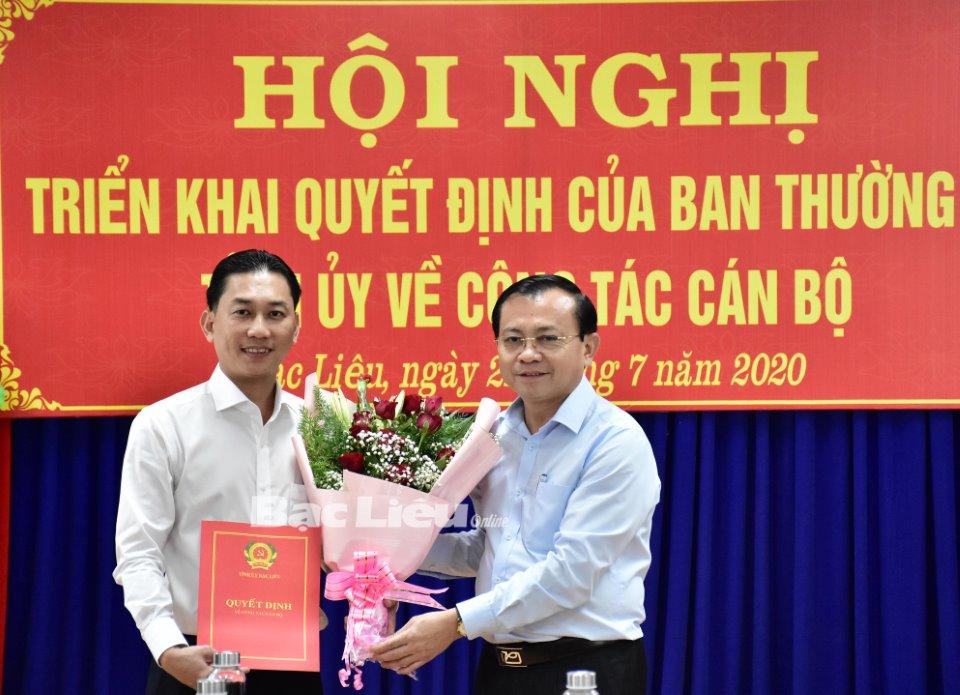 Thư ký Bí thư Tỉnh ủy Bạc Liêu làm Phó trưởng ban Tổ chức Tỉnh ủy - ảnh 1