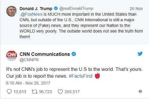 """Tổng thống Trump chỉ trích CNN """"đưa tin tức giả mạo về Mỹ ra thế giới"""" - ảnh 1"""
