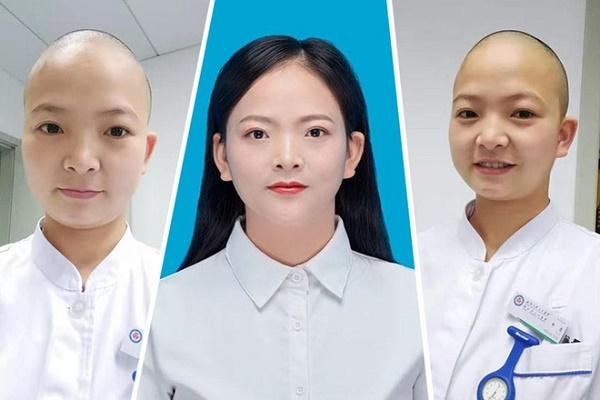 """Cảm động cảnh các nữ y tá ở """"tâm bão"""" Vũ Hán cạo trọc đầu để tránh nhiễm chéo virus Covid-19 - ảnh 1"""