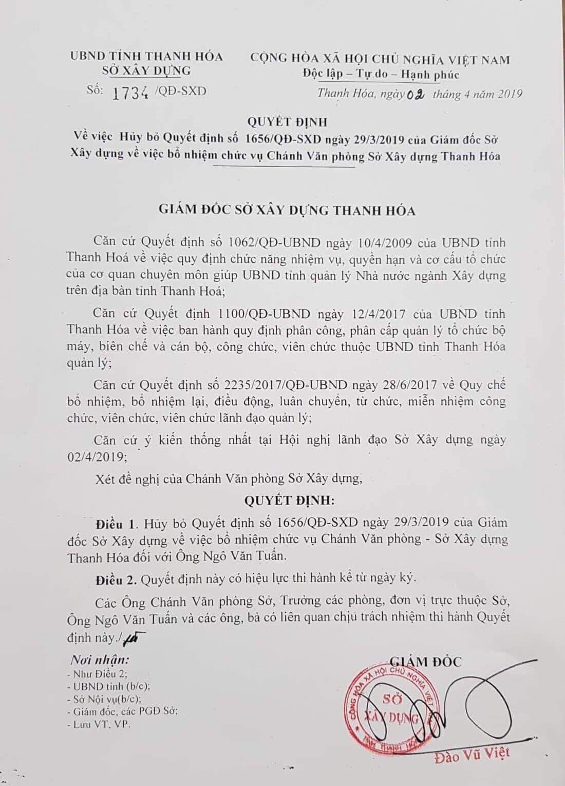 Bãi bỏ quyết định bổ nhiệm đối với cựu Phó chủ tịch tỉnh Thanh Hóa - Ảnh 1