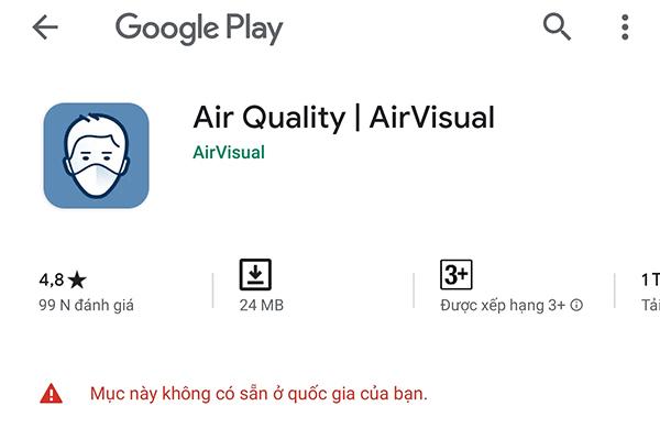 """Ứng dụng đo chất lượng không khí AirVisual """"biến mất"""" khỏi Việt Nam vì chịu """"bão"""" đánh giá 1 sao - ảnh 1"""