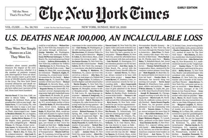 Dành trang nhất để viết tên nạn nhân tử vong do Covid-19, New York Times khiến độc giả không khỏi xót xa - ảnh 1