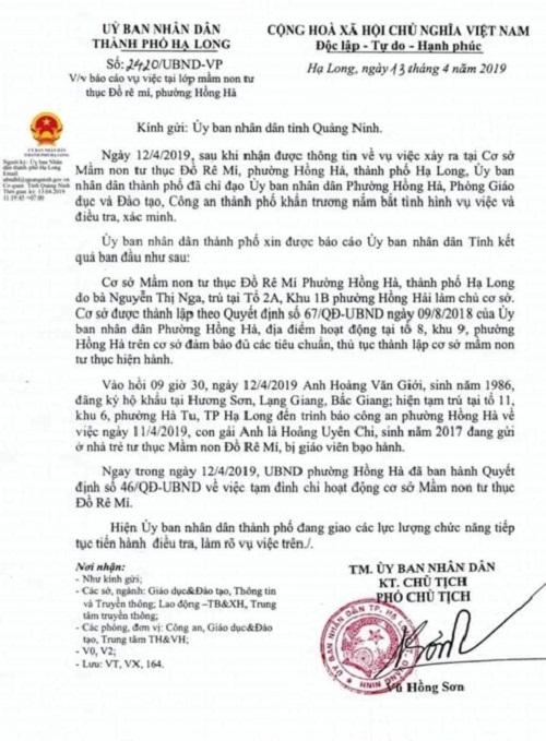 Vụ 2 cô giáo ở Quảng Ninh quăng trẻ xuống nệm: Tạm đình chỉ cơ sở mầm non  - Ảnh 2