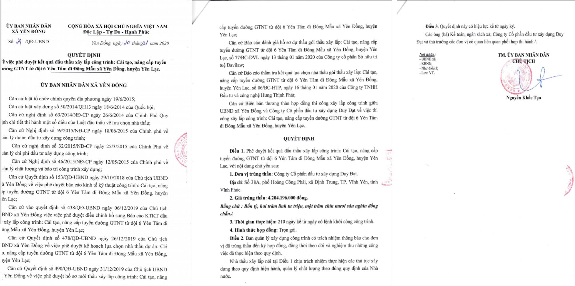 """Yên Đồng, Yên Lạc (Vĩnh Phúc): Nhà thầu """"quen mặt"""" trúng nhiều gói thầu tiết kiệm """"siêu thấp"""" - ảnh 1"""