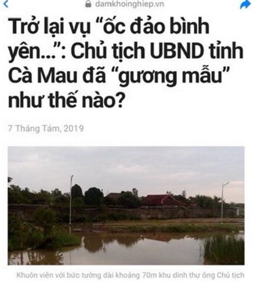 Đăng thông tin sai sự thật về Chủ tịch tỉnh Cà Mau, trang web bị đề nghị xử lý - ảnh 1