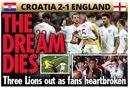 Tin tức - Truyền thông Anh nói gì về thất bại của đội nhà trước Croatia tại bán kết World Cup 2018?