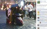 Cảnh con trai lớn ngồi trên xe để mẹ dắt trong mưa ngập ở Sài Gòn gây xôn xao