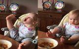 Nghị lực phi thường của cô bé không tay dùng chân để ăn