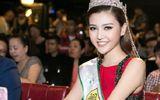 Hoa hậu Ngọc Duyên đội vương miện lộng lẫy đi chấm thi sắc đẹp