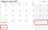 Tết Dương lịch 2018 người lao động được nghỉ mấy ngày?