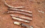 """Đào hố trồng chuối, phát hiện 60 """"vật thể lạ"""" hình quả bom"""