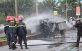 3 ô tô va chạm liên hoàn, xe tải bốc cháy dữ dội trên quốc lộ