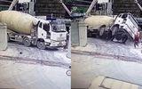 Kinh hoàng cảnh xe trộn bê tông 80 tấn rơi xuống hố móng