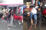 Tin trong nước - Xe khách 24 chỗ đâm trực diện xe tải, 2 xe co rúm đầu, ít nhất 6 người bị thương