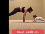 """Video-Hot - Video: Bé còn đóng bỉm tự mình """"Plank"""" khiến các mẹ ngạc nhiên khó tin nổi"""