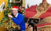 Giáng sinh ấn tượng với chiếc đèn \'nhiều tuổi\' nhất, ông già Noel bằng cát lớn nhất thế giới