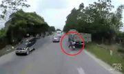 Nam thanh niên may mắn thoát khỏi lưỡi hái tử thần khi tự tông vào đuôi xe tải