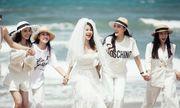 Tổ chức tiệc chia tay cuộc đời độc thân, Diệp Lâm Anh đội khăn voan xinh đẹp rạng rỡ