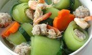 Món ngon bữa trưa: Canh bí xanh nấu tôm thịt ngọt mát, dễ làm